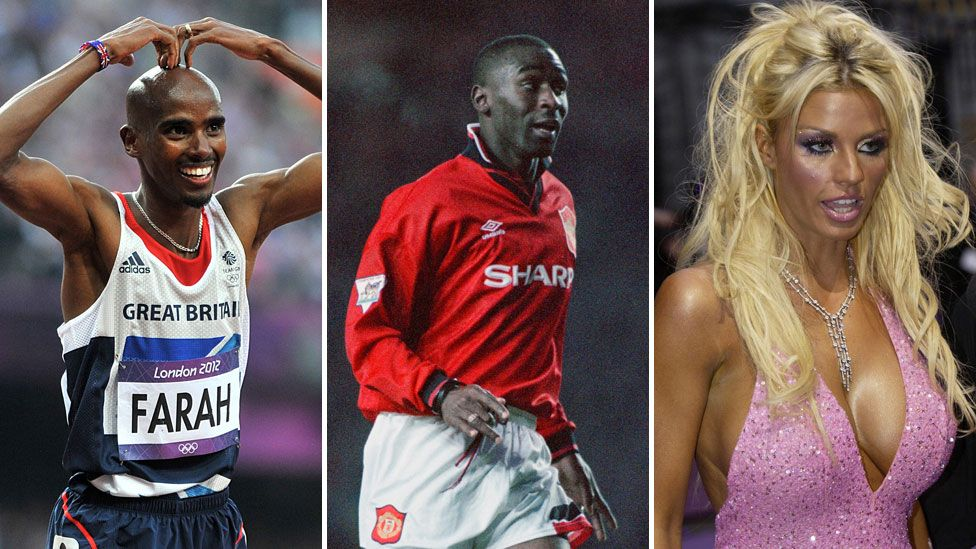 Mo Farah, Andrew Cole and Katie Price