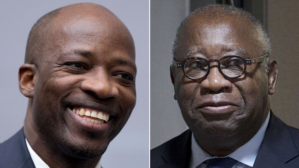 A composite image showing former Ivory Coast militia leader Charles Ble Goude and ex-President Laurent Gbagbo