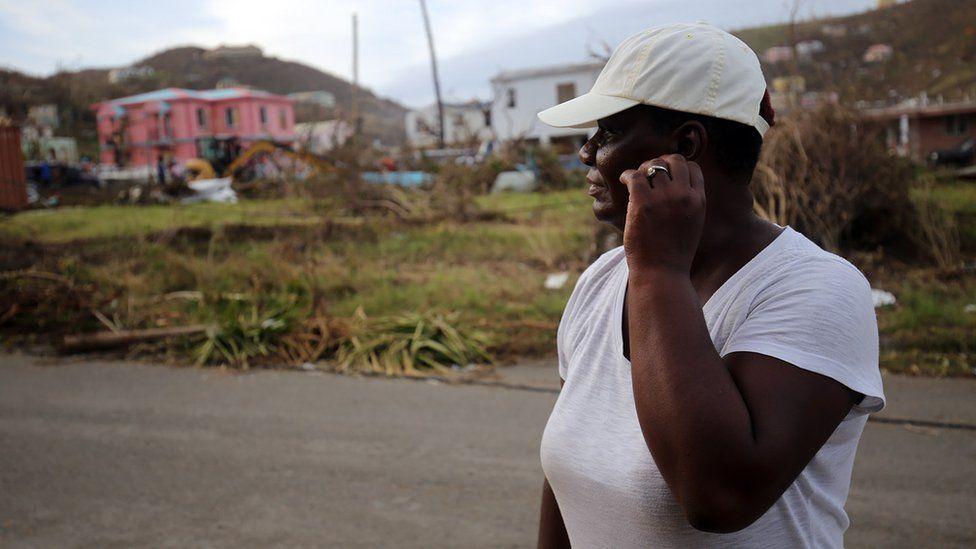 Local resident amid debris on British Virgin Islands