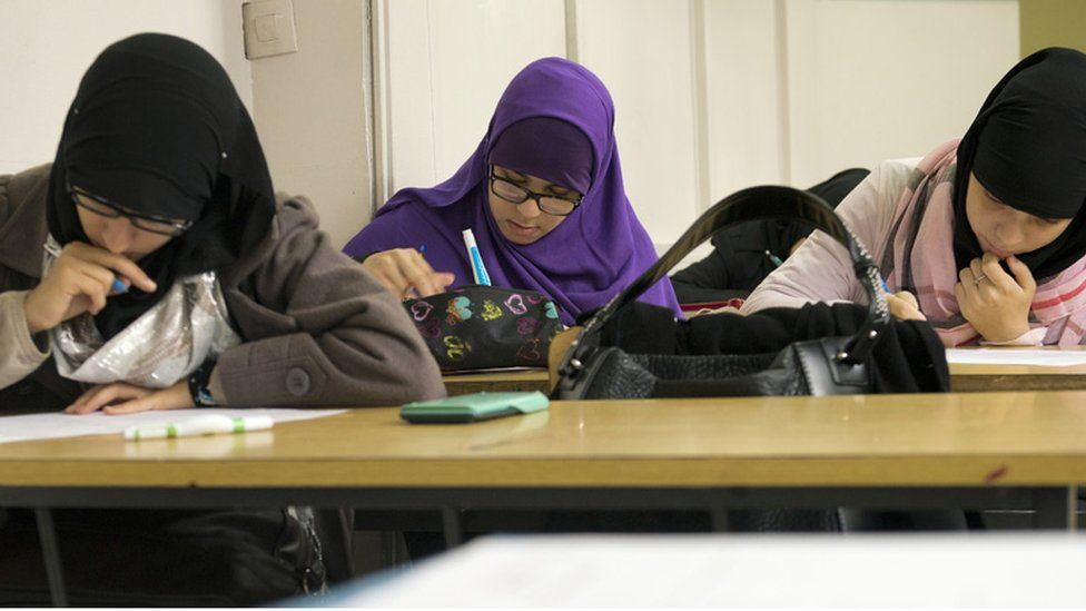 Girls at a Muslim school in Aubervilliers, on Paris outskirts - Sept 2013 file pic