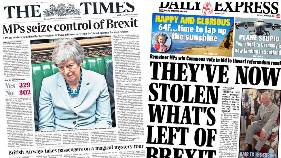 Composite image featuring the Times and Daily Express front pages