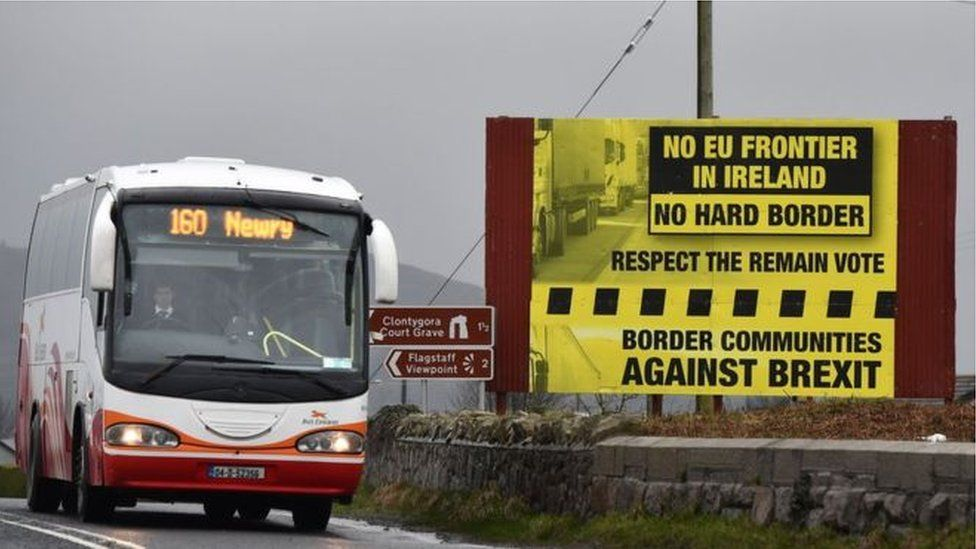 A bus travels over the Irish border