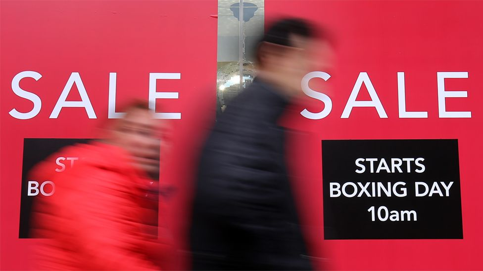 File image of posters advertising Boxing Day sales