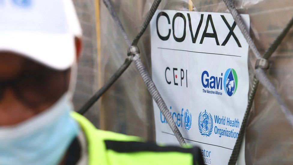 Covax crate at Accra airport