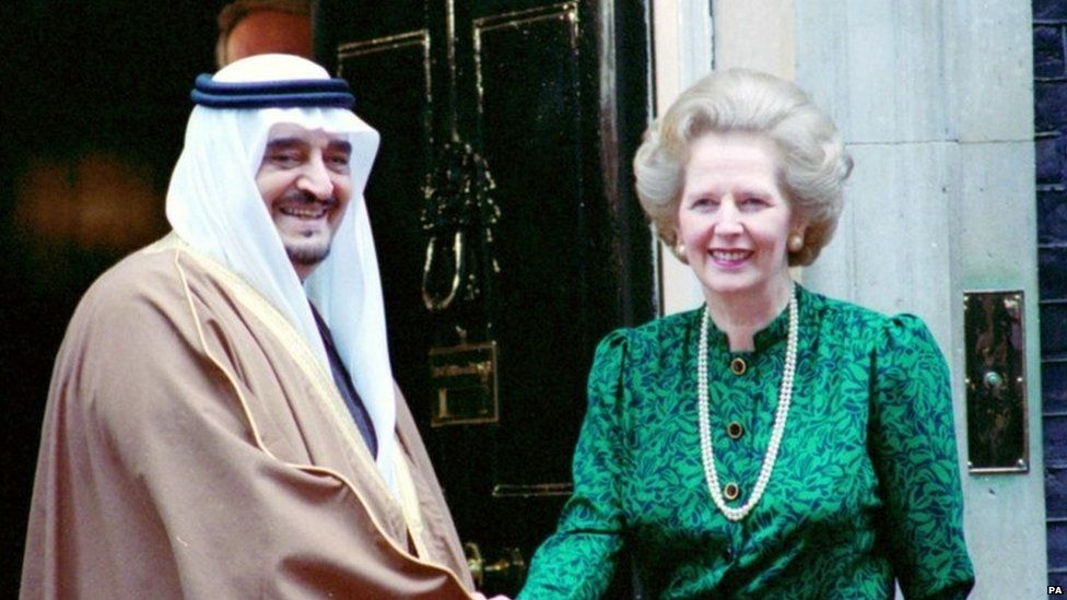 Margaret Thatcher shakes hands with King Fahd of Saudi Arabia outside Downing Street in 1987