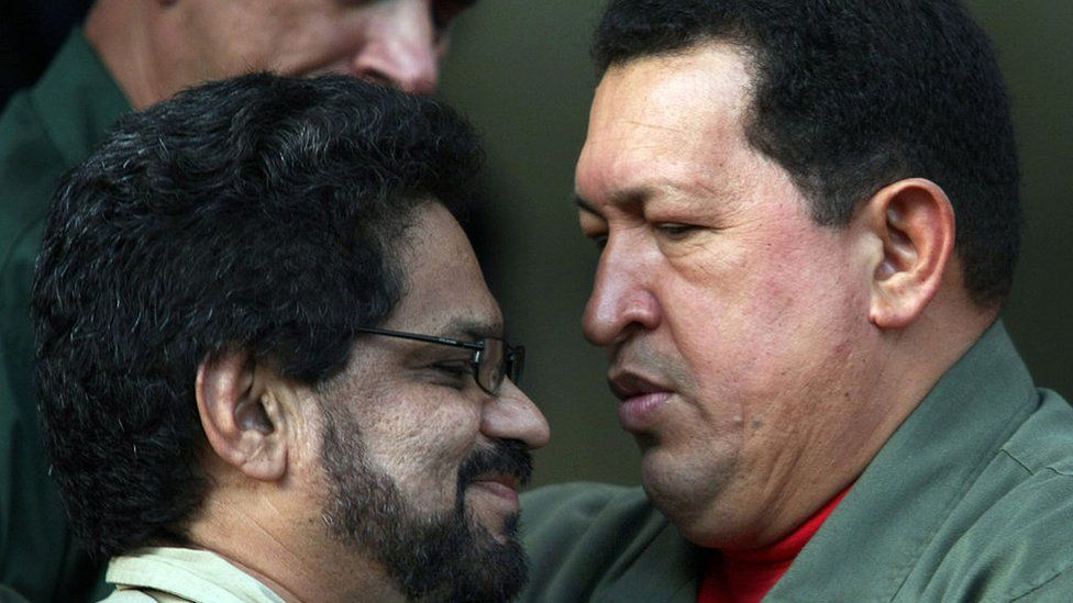 Former president of Venezuela, Hugo Chavez, and Ivan Marquez, Farc lead peace negotiator.