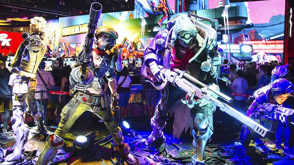 Models of video game characters at E3