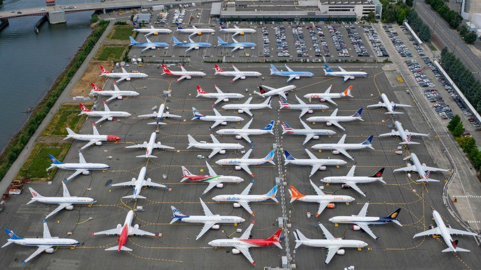 Grounded Boeing 737 MAX aeroplanes