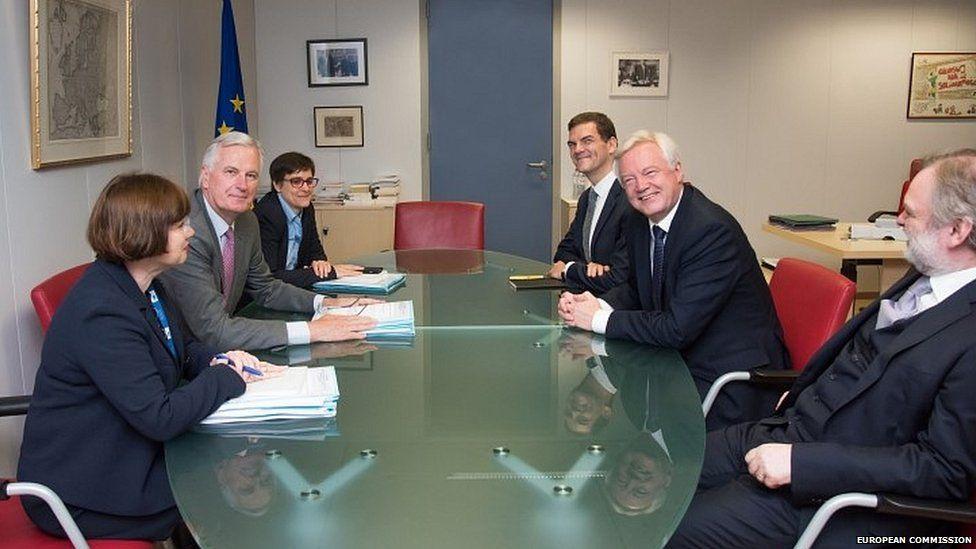 David Davis, Michel Barnier and their respective officials