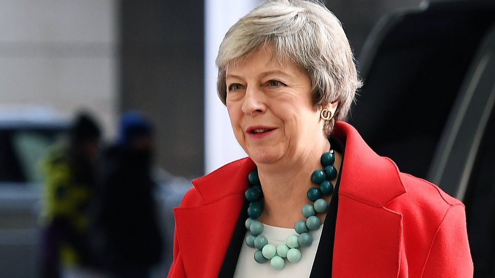 Theresa May arrives at the BBC on Sunday for Andrew Marr