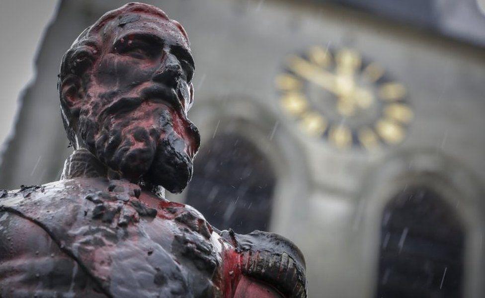 Defaced statue of King Leopold II in Antwerp, 5 June 2020