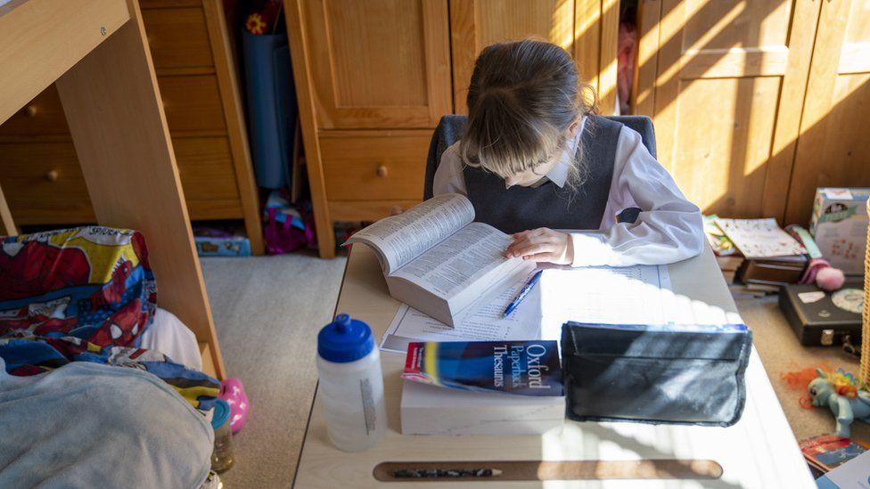 Girl doing homeschooling