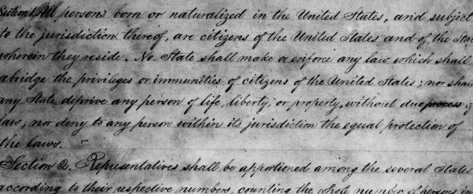 A draft of the 14th Amendment to the United States Constitution, outlining the rights and priveleges of American citizenship, ratified in 1868.