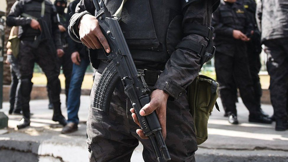 File photo showing Egyptian police special forces standing guard in Cairo's Tahrir Square on 25 January 2016