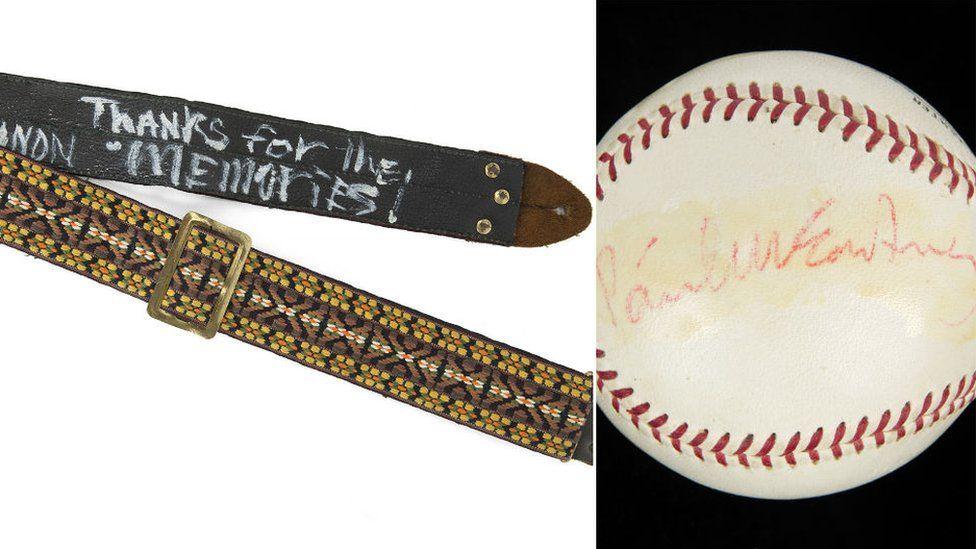 Guitar strap and baseball