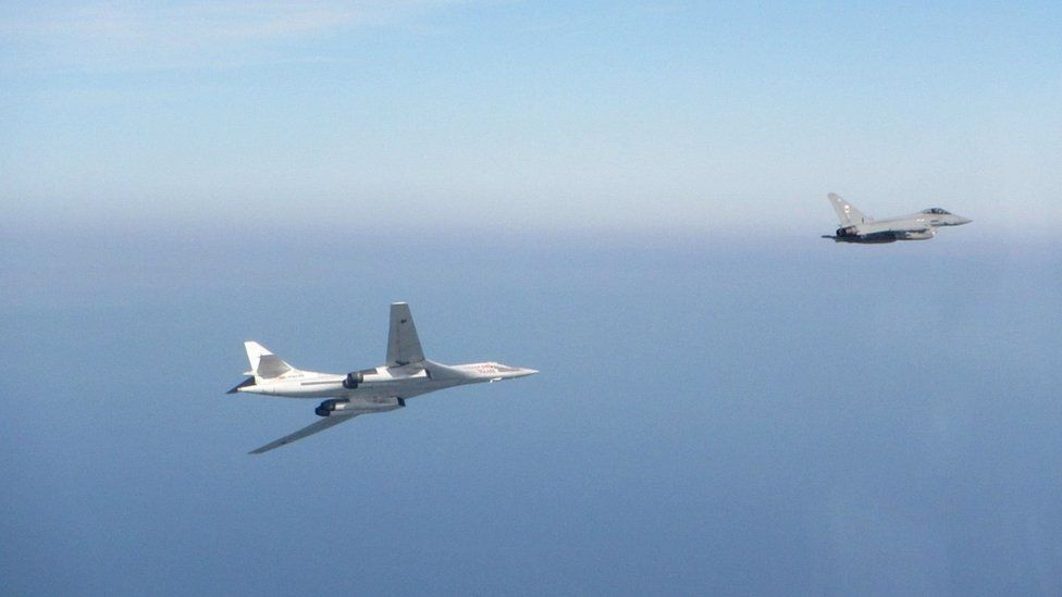 RAF Typhoon intercepting Russian aircraft