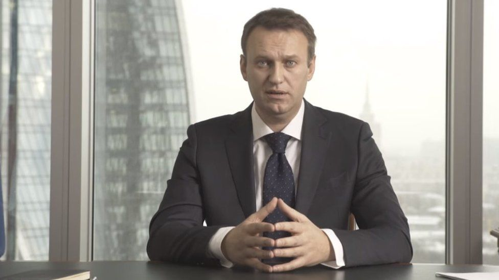 Alexei Navalny in a video statement on his website