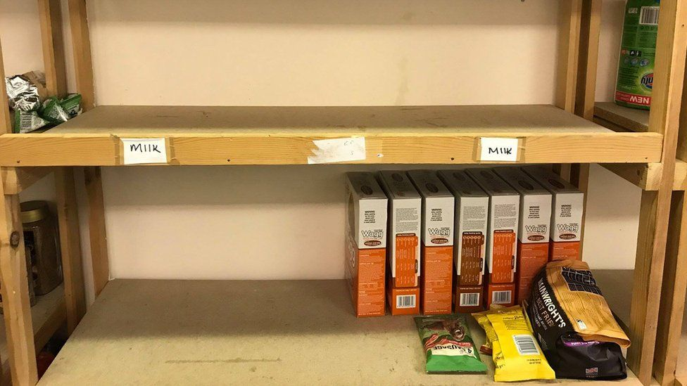 Almost empty shelves at Inverclyde Foodbank