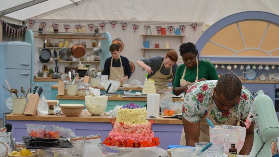 Selasi, Benjamina, Andrew and Tom in the Great British Bake Off