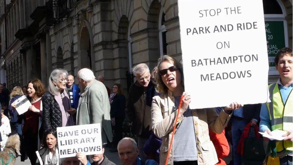 Protestors in Bath city centre