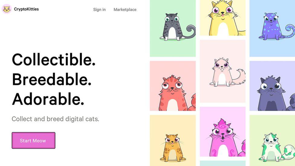 Screenshot of CryptoKitties site
