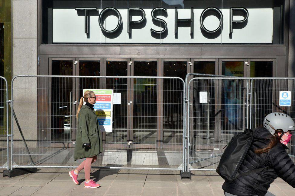The closed Topshop store on Oxford Street, London