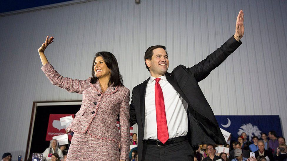 Republican presidential candidate Marco Rubio (R-FL) appears with South Carolina Governor Nikki Haley in Chapin, South Carolina