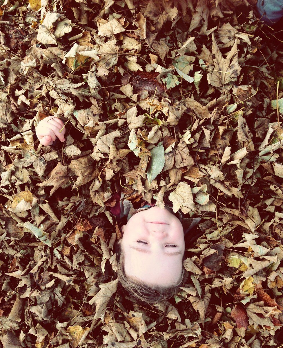 Young boy lying in pile of leaves