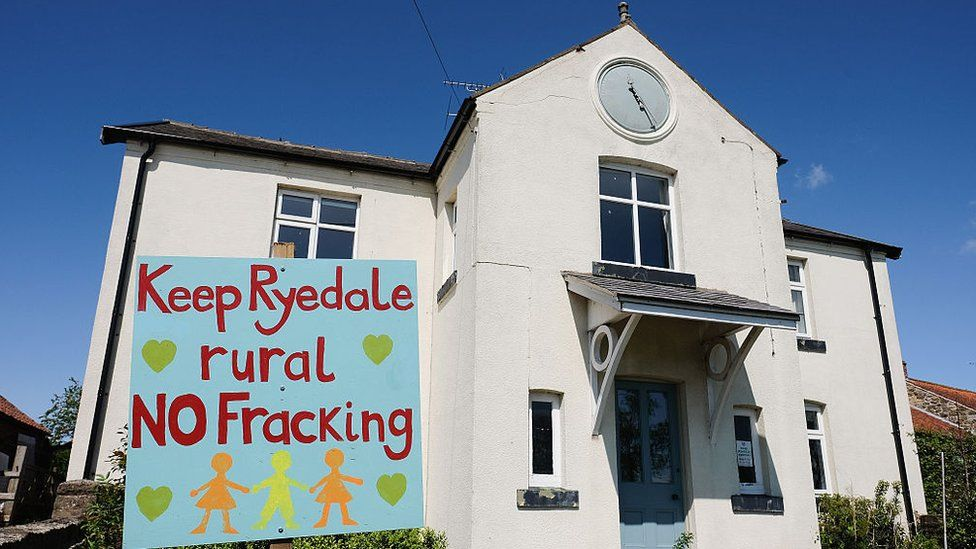 An anti fracking sign is displayed in the garden of a home on the outskirts to the village of Kirby Misperton