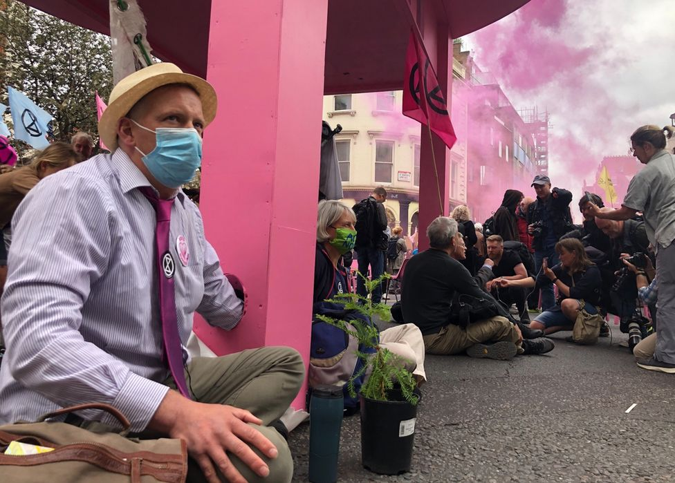 Extinction Rebellion protesters blocking streets