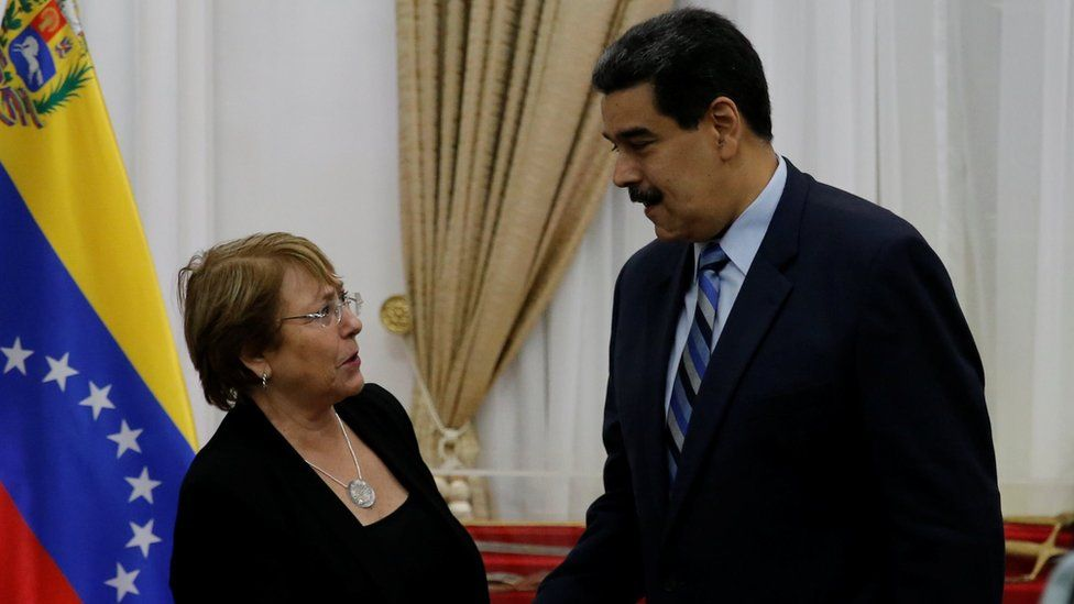 UN High Commissioner for Human Rights Michelle Bachelet and Venezuela's President Nicolas Maduro meet in Caracas