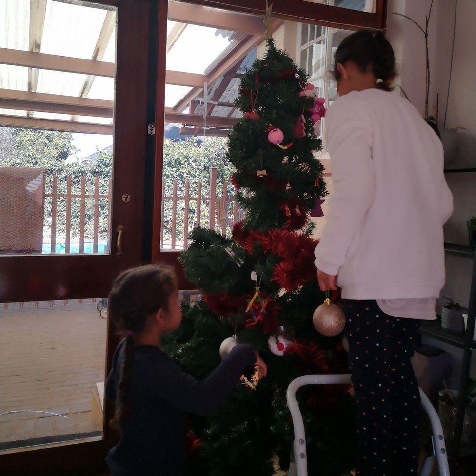 Decorating the Christmas tree.