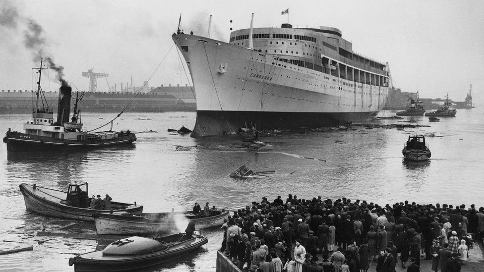 The Canberra after launch