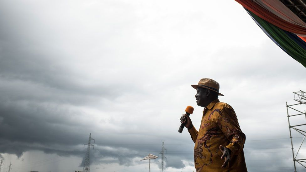 Opposition candidate Raila Odinga speaks to the crowd gathered at a rally at the Ogango Grounds on October 20, 2017 in Kisumu, Kenya. Tensions are high as Kenya waits for a new Presidential vote after it annulled the results of the first vote in August. Opposition candidate Raila Odinga has rejected the new election, saying a free and fair election was not currently possible in Kenya