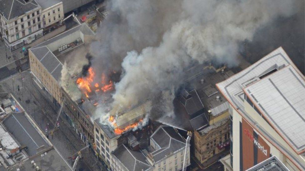 Aerial view of the fire