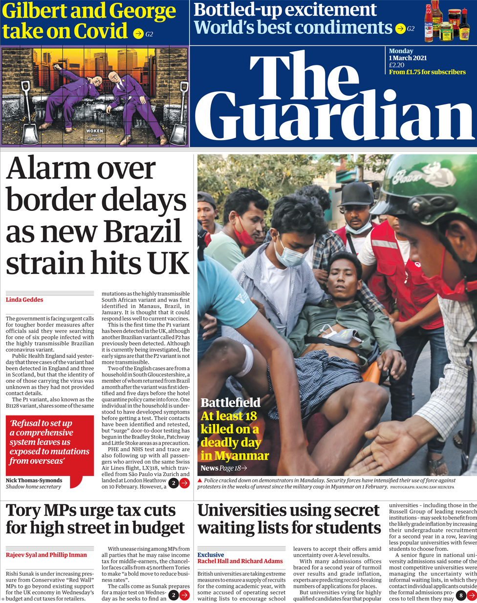 The Guardian front page 1 March 2021