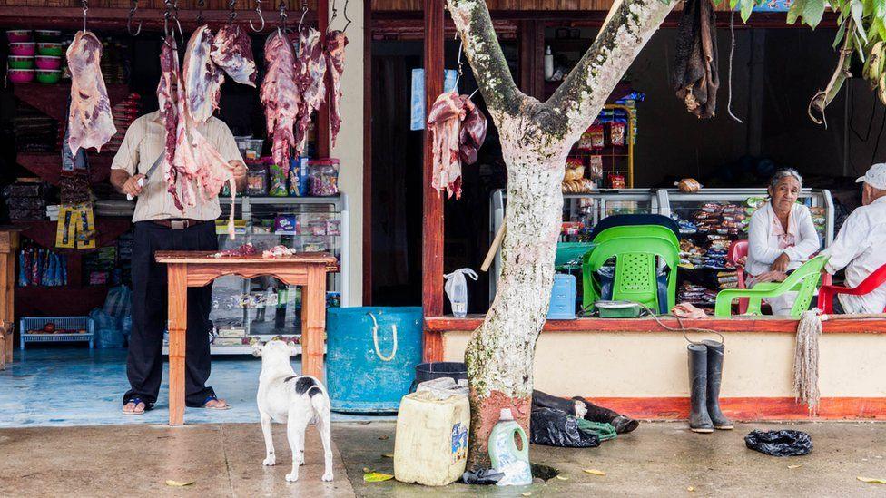 A butcher shop in La Carmelita