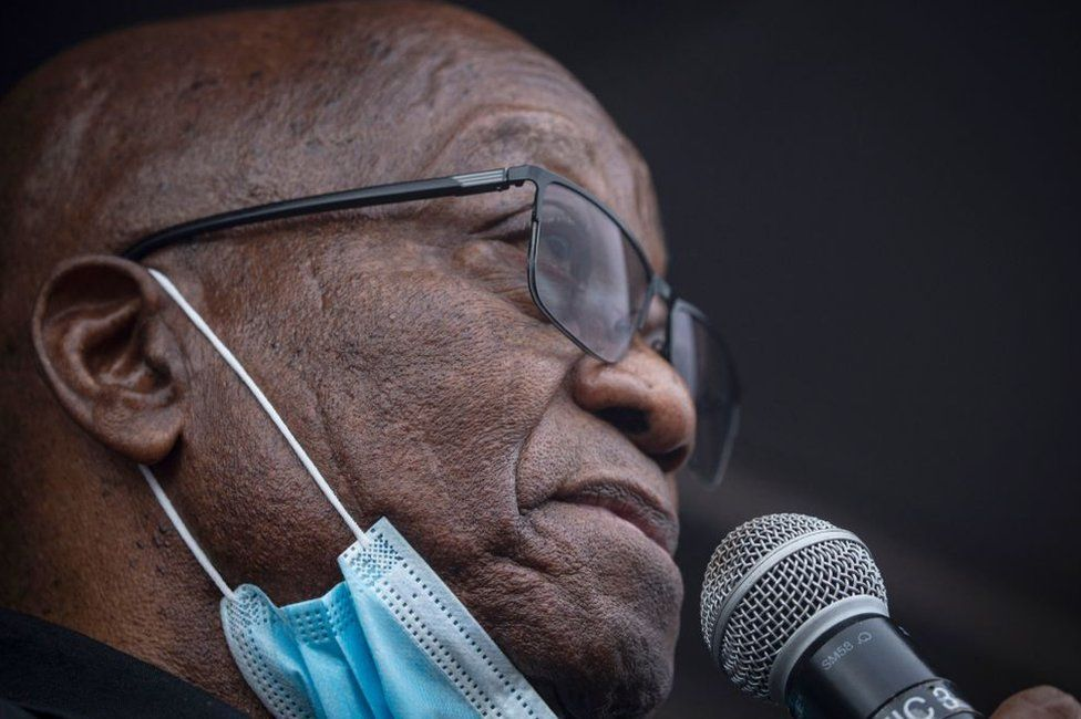 Former South African president Jacob Zuma addresses his supporters in front of his rural home in Nkandla on July 4, 2021