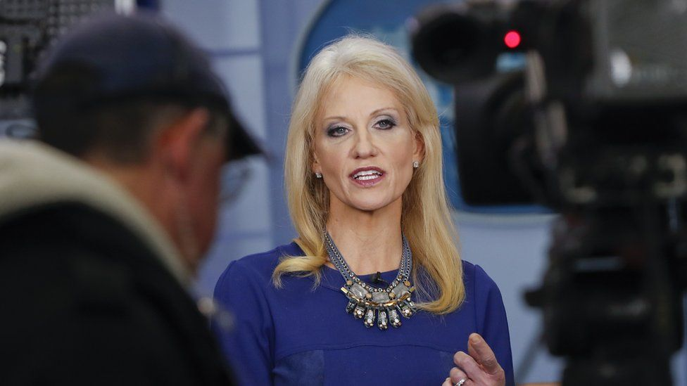 Counselor to the President Kellyanne Conway answers questions during a network television interview in the James Brady Press Briefing Room of the White House in Washington, Monday, Feb. 13, 2017