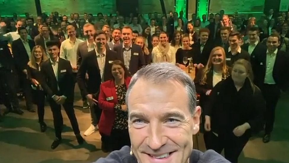 Bernard Looney posted on Instagram from BP in Germany on his first day as chief executive