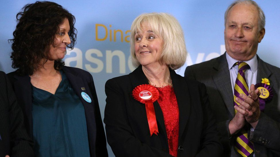 Renew candidate June Davies (left) and Neil Hamilton of UKIP congratulate Ruth Jones