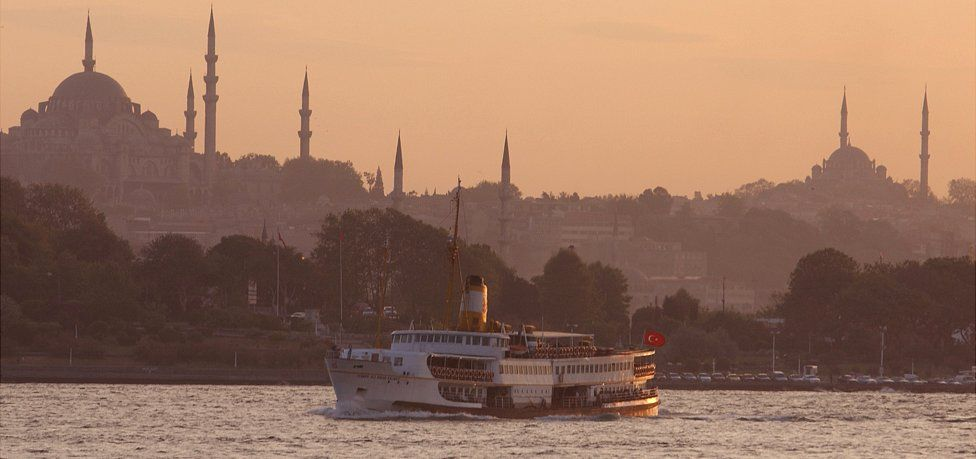 Istanbul skyline and Bosphorus ferry