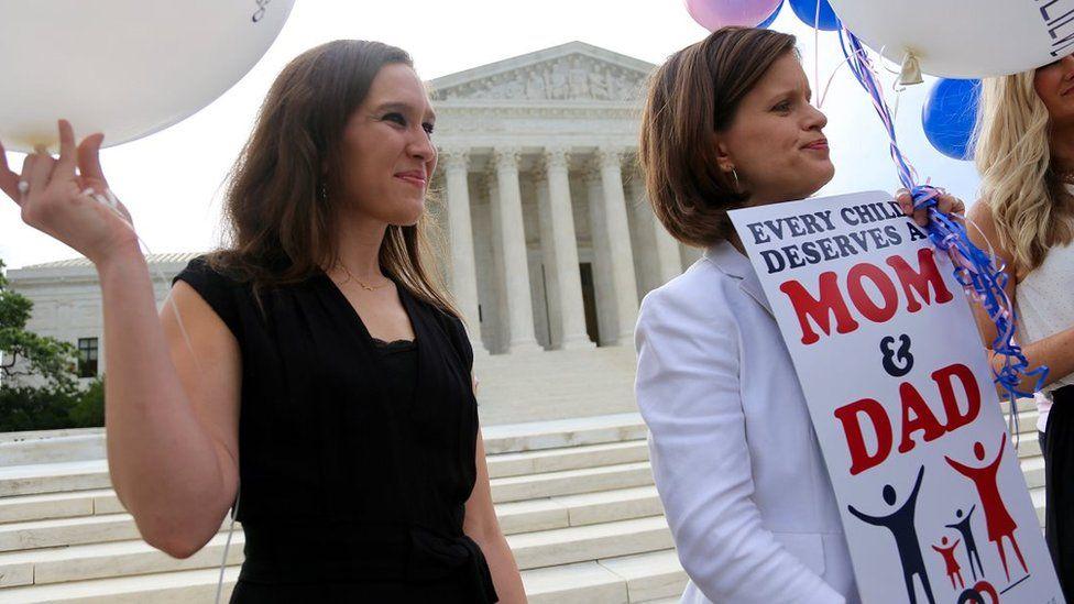 Two women oppose same-sex marriage