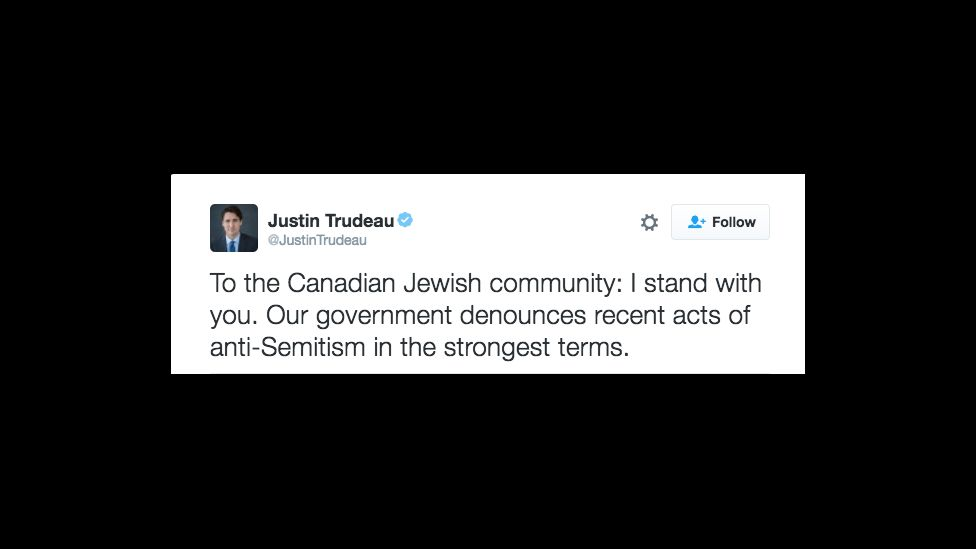 Prime Minister Justin Trudeau's Twitter response