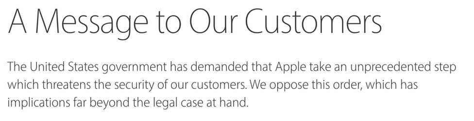 Letter from Apple to customers