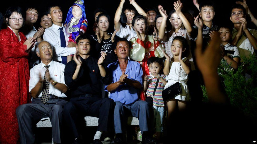 North Koreans watched the bell being rung in Pyongyang on 15 August 2015