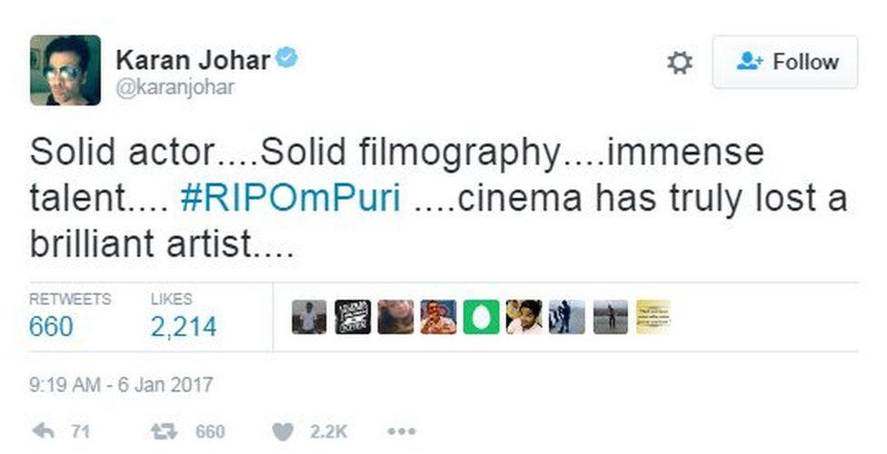 Solid actor....Solid filmography....immense talent.... #RIPOmPuri ....cinema has truly lost a brilliant artist....