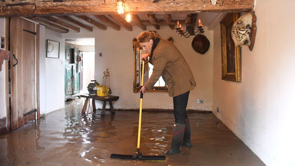A flooded home in Cossington, Leicestershire