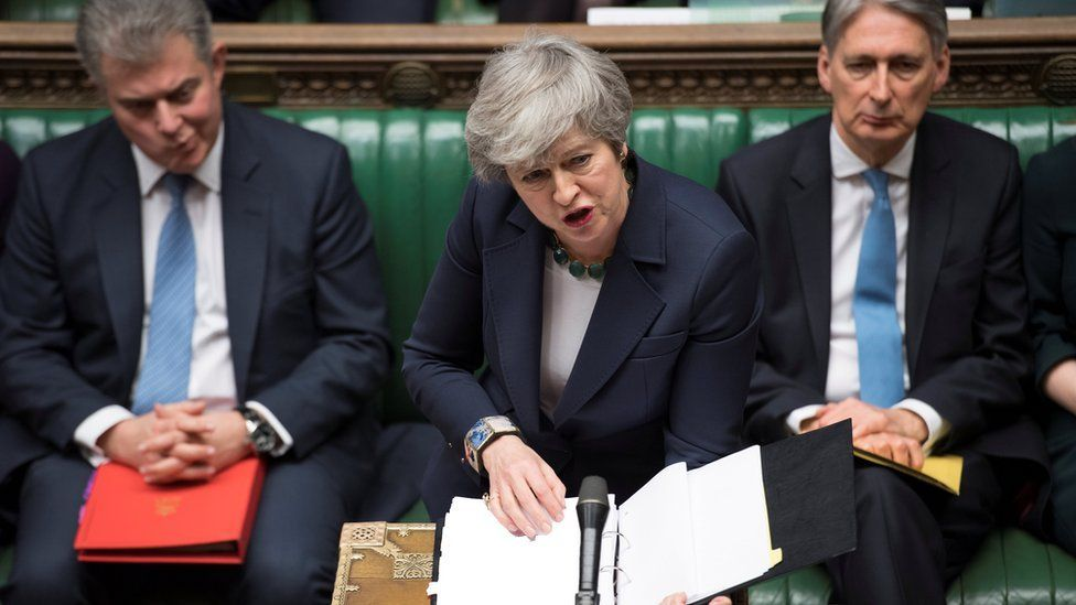 Prime Minister Theresa May speaking in the Commons