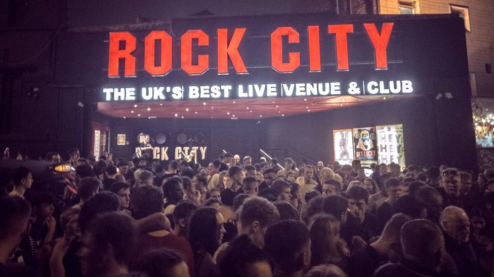 The evacuated crowd outside Rock City